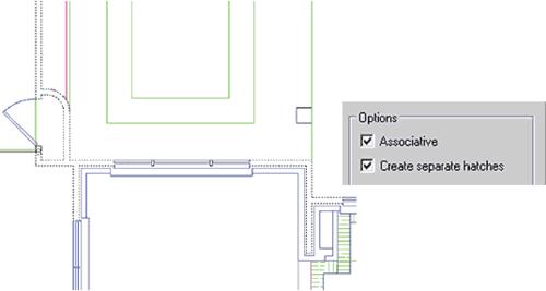 Рис. 35. При вызове команды контурной штриховки указано несколько областей, и пользователь может выбрать вид создаваемых объектов: либо единый объект, либо несколько, по числу областей