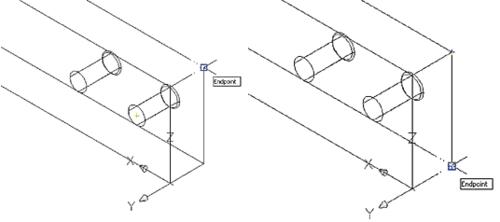 Рис. 38. Установка OSNAPZ в 1 не позволяет определять точки, лежащие вне плоскости построения