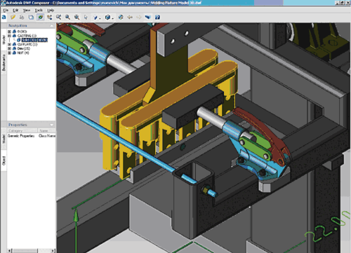 Рис. 42. Выбранный в браузере (Navigation) объект подсвечивается в составе всей модели