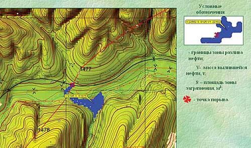 Рис. 5. Пример моделирования растекания нефти в случае порыва нефтепровода