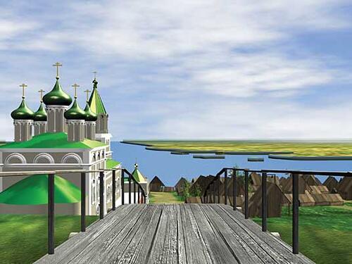 Рис. 2.2. Вид из Ивановской башни на храм Рождества Иоанна Предтечи и нижний посад