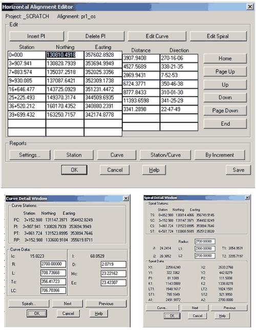 Рис. 6. Редактирование параметров плановых осевых