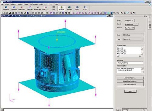 Рис. 6. Окно MSC.Patran c визуализацией маркеров нагрузки и контактных компонентов сборки
