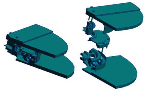 Рис. 14. Расчетная область, выделенная по условиям симметрии (геометрической, по нагрузке и закреплениям) для расчета напряженно-деформированного состояния подшипника
