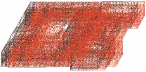 Рис. 11. Деформированная схема здания с РМСО (1-я форма колебаний)