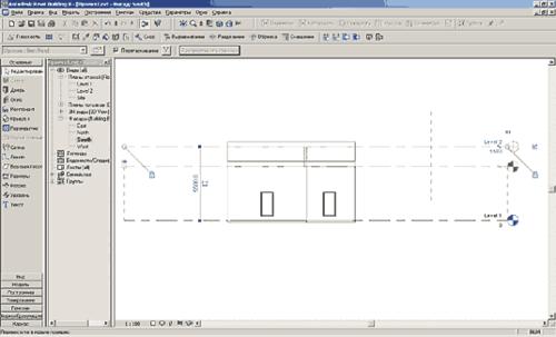 Рис. 11. Перемещая пунктирную линию второго этажа, мы автоматически перемещаем крышу и присоединенные стены