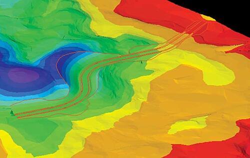 Рис. 3. Визуализация поверхности и модели коридора