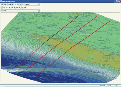 Рис. 4. Визуализация сети линейных трубопроводов