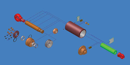 Схема сборки гидроцилиндра, выполненная в Autodesk Inventor Series