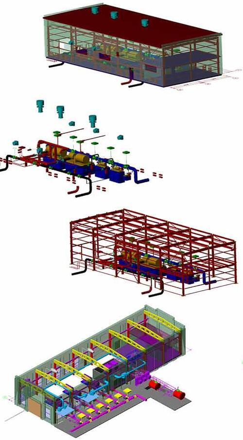 Рис. 16. Магистральная насосная: технологическая часть, вентиляция, внутреннее водоснабжение, строительная коробка