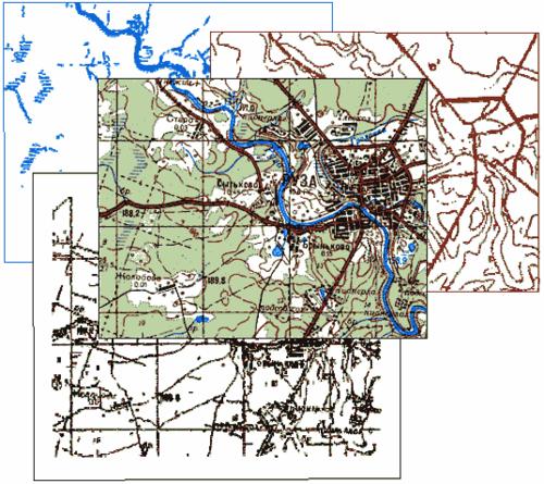 Выделение тематической информации цветной карты на монохромные слои