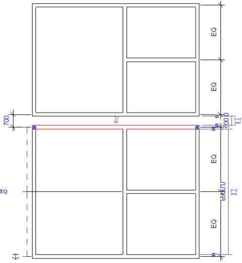 Рис. 10. Перемещая верхнюю стену скопированной структуры, мы увеличим размеры нижней структуры и сократим расстояние между двумя сооружениями. При этом размер верхней структуры не изменяется
