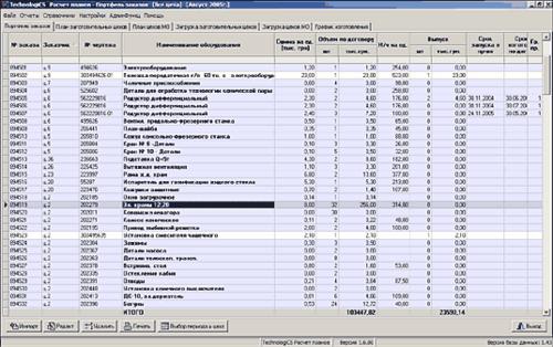 Общий вид модуля Расчет планов