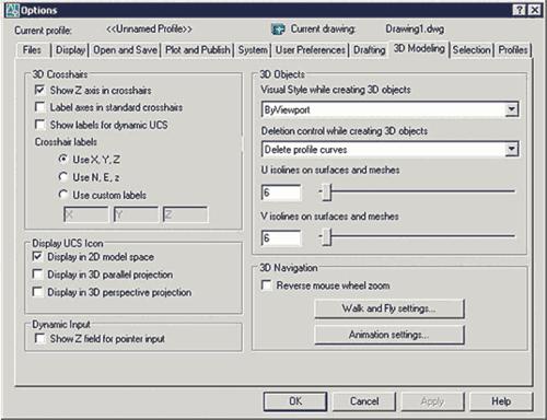 Рис. 4. Диалоговое окно Options, закладка 3D Modeling