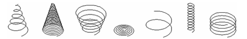 Рис. 14. Варианты реализации спирали в AutoCAD 2007