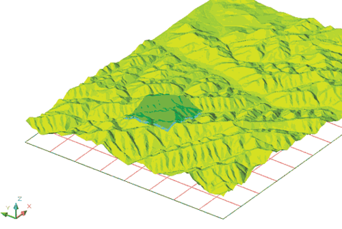 Рис. 4. 3D-моделирование - фрагмент рельефа