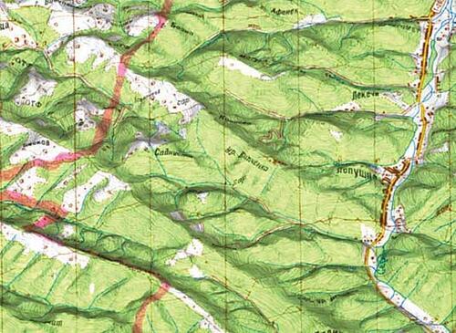 Рис. 5. Фрагмент рельефа с натяжкой сканированной карты М1:100 000
