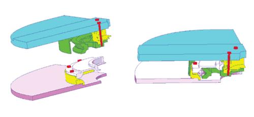 Рис. 2. Две подсборки, взаимодействующие между собой через промежуточные тела - шарики