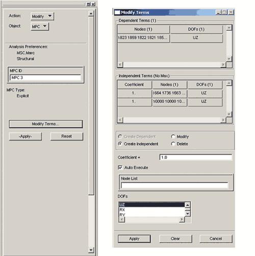 Рис. 6. Корректировка MPC для перемещений по оси Z