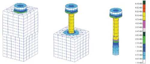 Рис. 9. Результаты расчета по моделированию предварительной затяжки болта - поля эквивалентных напряжений по Мизесу (Н/м^2)