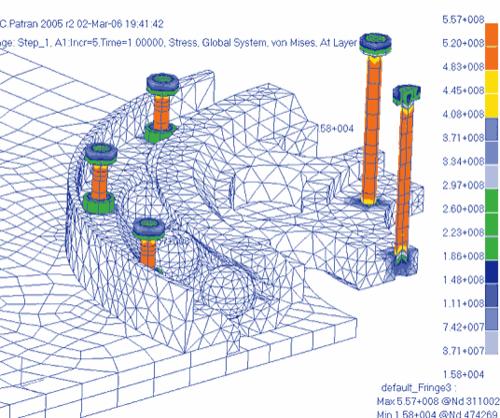 Рис. 16. Поле эквивалентных напряжений по Мизесу (Н/м^2) в элементах подшипника на момент полной затяжки болтов