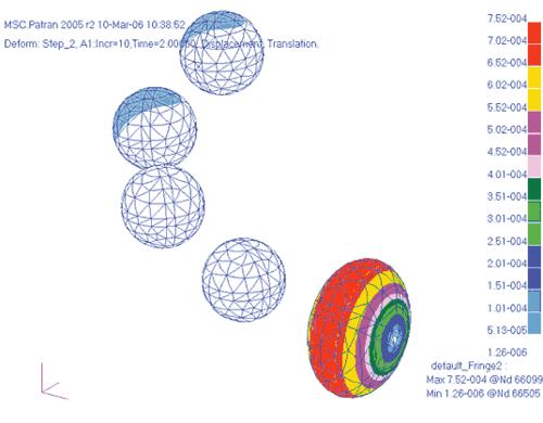 Рис. 22. Поле перемещений (м) в шариках при нагреве конструкции на 60°С от исходного состояния