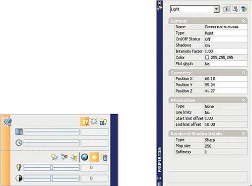 Рис. 10. Инструменты для работы с источниками света и свойства выбранного в модели источника