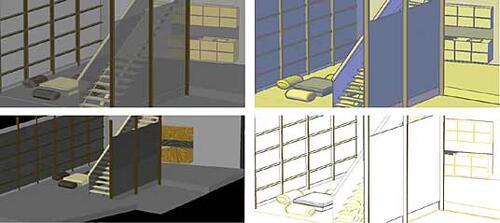 Рис. 17. Модель в различных режимах визуализации