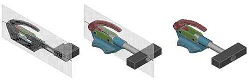 Рис. 20. Модель с активированной секущей плоскостью, с неактивной секущей плоскостью и полная модель