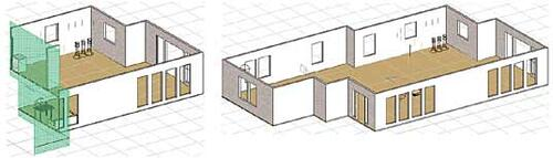 Рис. 21. Сложный разрез в модели (слева), справа - исходная модель