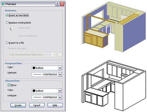 Рис. 25. Диалоговое окно инструмента Flatshot (слева), исходная модель и результат экспорта (справа)