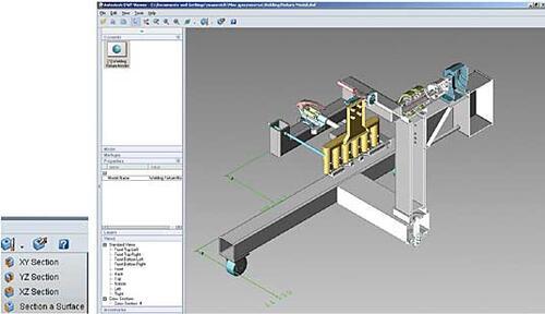 Рис. 28. Добавленные инструменты сечения модели и модель в режиме отсечения