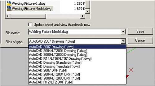 Рис. 30. Возможные форматы для сохранения DWG-файла