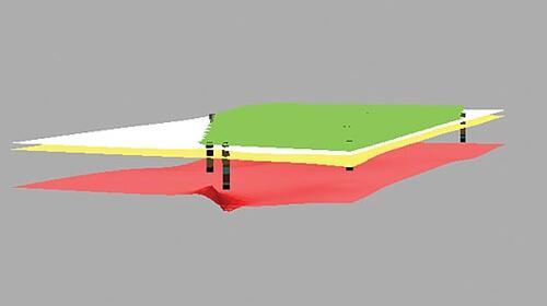 Рис. 6. Скважины и сетки грунтов в 3D-виде