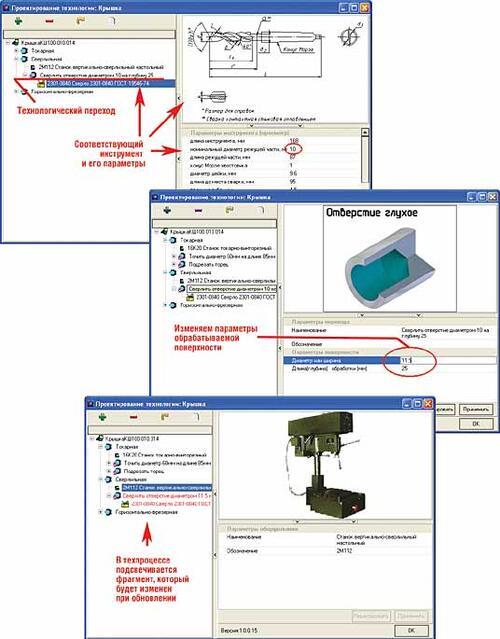 Рис. 8. Изменение параметров обрабатываемой поверхности в электронном техпроцессе (диаметр отверстия)