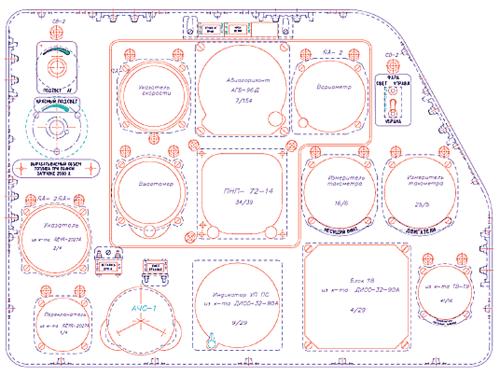 Рис. 1. Пример чертежа приборной доски, на котором все контуры являются непосредственными источниками для формирования траектории инструмента на станках с ЧПУ