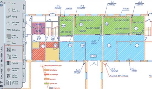 Рис. 19. Цветовая схема помещений с применением инструмента «Зоны»