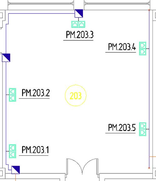 Рис. 1. Подсветка телекоммуникационных розеток при создании их связи с помещением