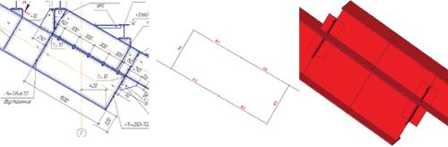 Рис. 4. Рабочий чертеж жесткого узла сопряжения главных балок трибуны и его расчетная модель в системе SCAD