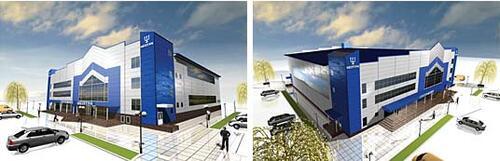 Рис. 8. Дизайн-концепция физкультурно-оздоровительного комплекса в г. Орехово-Зуево (разработка А.С.Сидорова на основе фасадов, предоставленных генеральным проектировщиком)