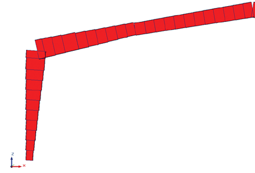 Рис. 15. Общий вид расчетной модели рамы переменного сечения, аппроксимированной стержнями постоянного сечения