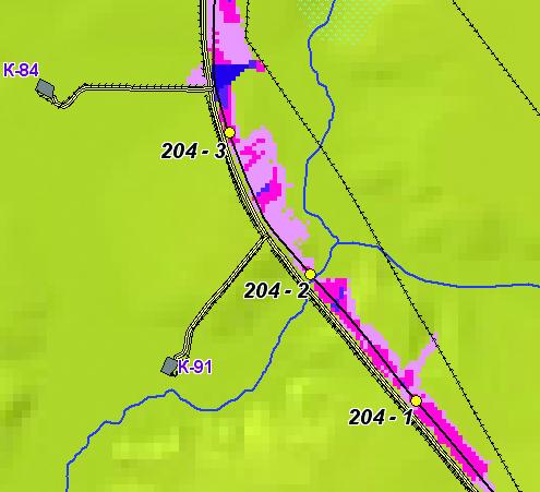 Рис. 5. Карта риска загрязнения территории нефтью (без учета водотоков). Сформирована с использованием ГИС, разработанной в Центре исследований экстремальных ситуаций