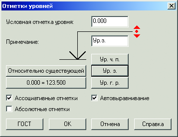 PS Конструкции. Отметки уровней
