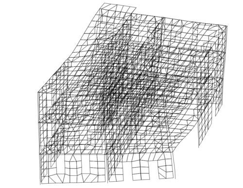 Рис. 3б. Основные формы собственных колебаний модели фрагмента. 3-я форма Т3=0,25 с - крутильная