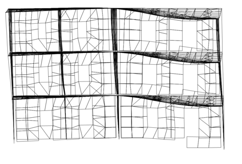 Рис. 4a. Высшие формы колебаний модели фрагмента. 4-я форма, вертикальные колебания колонн и диафрагм жесткости по оси 3, Т4=0,19 с