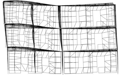 Рис. 4б. Высшие формы колебаний модели фрагмента. 5-я форма, вертикальные колебания перекрытий и перегородок из плоскости, Т5=0,16 с