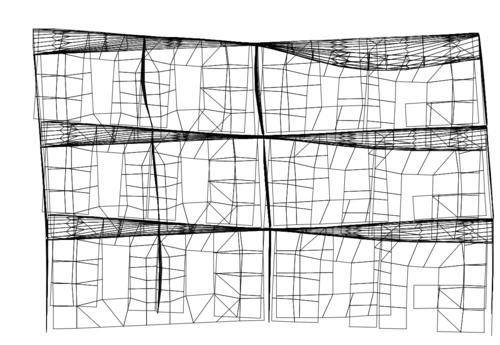 Рис. 4в. Высшие формы колебаний модели фрагмента. 6-я форма, вертикальные колебания перекрытий, Т6=0,11 с
