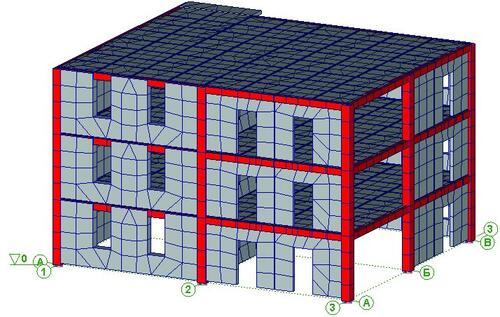 Рис. 1. Конечно-элементная модель трехэтажного фрагмента безригельного каркаса