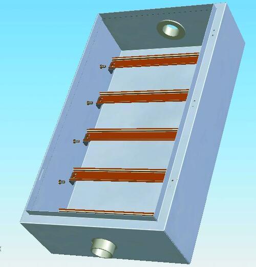 Рис. 3. Корпус в исполнении для модульной конструкции с установленными стыковочными втулками и рейками для крепления аппаратов