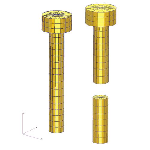 Рис. 4. Разделение болта на две части, между которыми в дальнейшем устанавливаются  MPC-связи